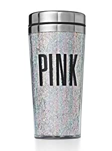 Victoria's Secret PINK Coffee Or Tea Portable Cup Tumbler Iridescent Glitter & BONUS VS Decal by Victoria's Secret