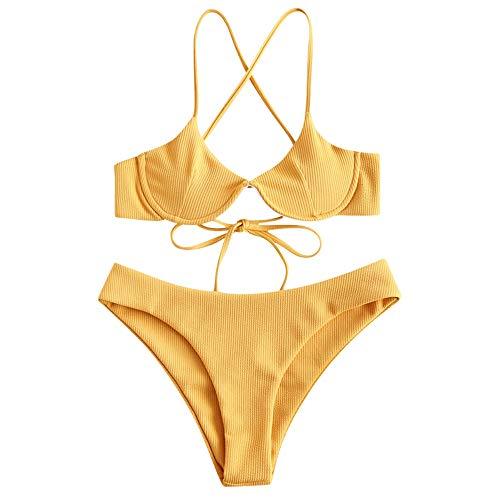 ZAFUL Damen Spaghetti-Träger Stützdraht Criss Cross Bikini Set Badeanzug Gelb S -