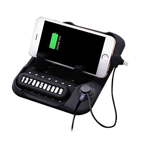 Kobwa Silikon Antirutschmatte Auto, Handyhalterung Telefon Ständer Pad Mit Magnetischen Aufladeeinheit und Parken-Zahl-Platte für Einfaches Finden, für IPhone/ Android (Münze Halter Platte)
