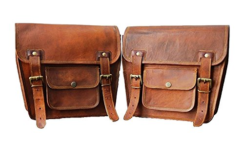Motorrad Seitentasche Braunes Leder Seitentasche Satteltaschen Sattel Packtaschen (2 Taschen) Motorrad Fahrrad (LBH 2 X Motorcycle Side Pouch Brown Leather Side Pouch Saddlebags Saddle Panniers (2 Bag