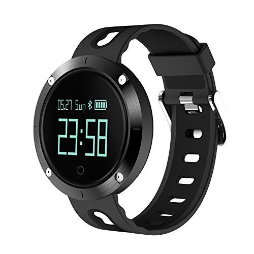 Smart Armband, 9Tong Wasserdichte Smart Fitness Armbänder mit Pulsmesser, Herzfrequenz Monitor Schwimm Sportuhr Aktivitätstracker Podometer Fitness Tracker für Android iOS Smartphones (Schwarz)