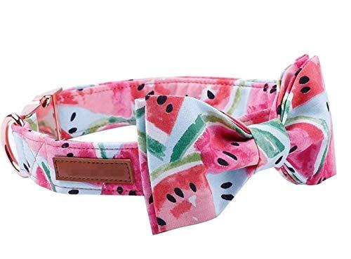 HUOYAN Wassermelone Rosa Baumwollgewebe Hundehalsband Und Leine Set Mit Fliege for Große Und Kleine Hunde Rose Gold Metallschnalle Haustier Zubehör (Color : Collar and Bow, Size : S) -