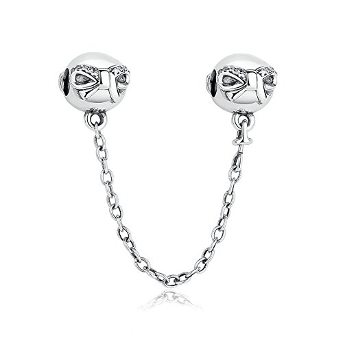 Dainty Schleife mit klaren CZ Sicherheit Kette 925?Sterling Silber Bead Passt Pandora Charme Armband (Pandora Armband Sicherheits-charme)