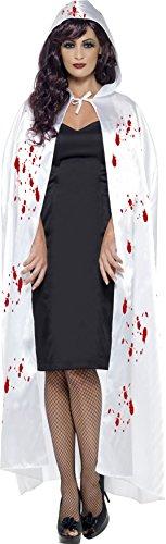 Smiffys 23202 - Carnage Cape mit Blut-Spritzer, weiß