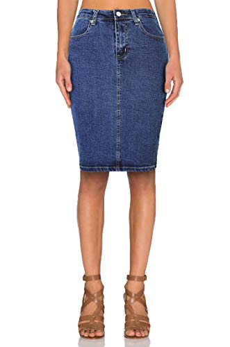 TAIPOVE Falda Lápiz Recta para Mujer Falda Vaquera Elástica Negro Azul b8b1285434b9