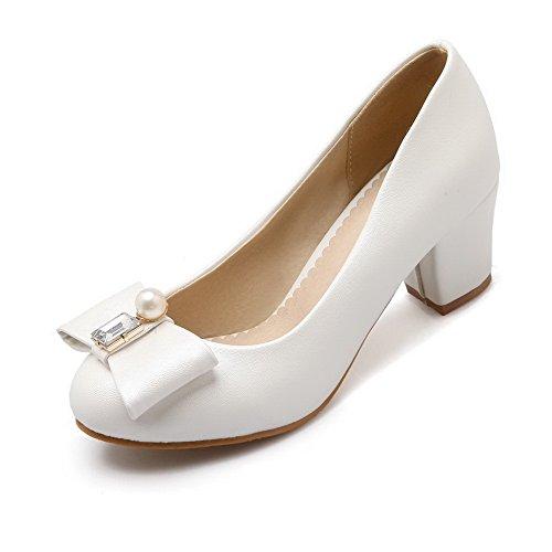 AgooLar Femme Pu Cuir à Talon Correct Couleur Unie Tire Chaussures Légeres Blanc