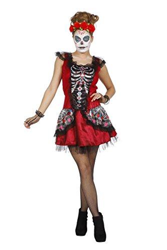 Damen Kostüm Tag der Toten Skelett Kleid Karneval -