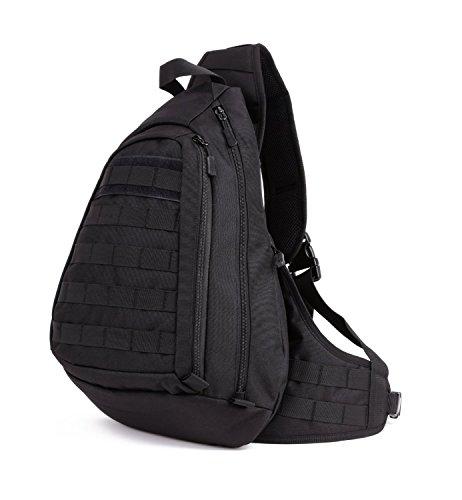 Daily Mall Tactical Sling Bag Rucksack mit einem Gurt SlingRucksack Crossbag taktische Umhängetasche Militär Slingbag Brusttasche Molle Daypack Dreieck Pack für Trekking Radfahren Wandern Camping (Typ1-Schwarz) (Taktische Links)