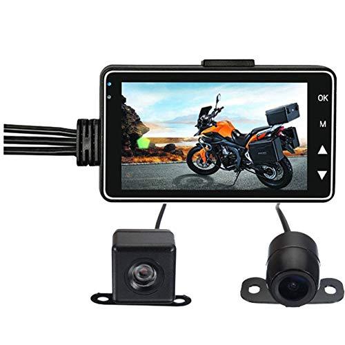 """Ur HQCC Motorrad Dash Cam, Doppelobjektiv-Motorrad-Aufnahmekamera mit 3""""-LCD-Bildschirm, 140-Grad-Winkel, wasserdichtem Objektiv, Loop-Aufnahme"""
