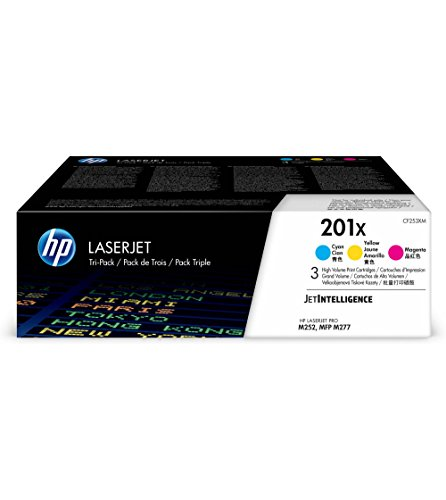 HP 201 X 3-pack High Yield Cyan/Magenta/Yellow Original LaserJet Toner Cartridges (CF253XM)