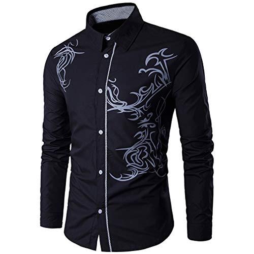Usopu Hombres Casual/Diario Camisa de Manga Larga Slim Fit con Estampado de dragón, Negro, L