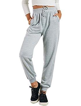 Cinnamou Mujeres Pantalones Corbata de Casual Yoga Jogger cropped pantalones pantalones de cintura