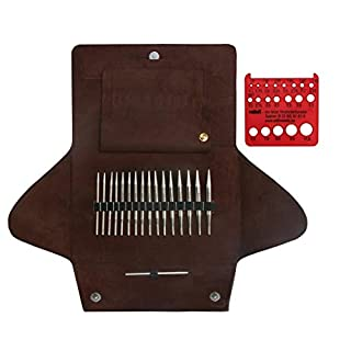 Addi Click Lace Short Tip Interchangeable Circular Needle Set with Exclusive Addi Red Needle Gauge