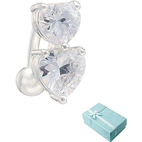 Acxico doble corazón forma circón incrustaciones ombligo hebilla Body Piercing joyas anillo en el ombligo (blanco plateado)