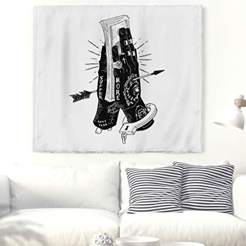 Gopumchy Schwarz-Weiß Habgierig Beide Hände Wandteppich Tapestry Psychedelisch Tapisserie Wandtuch Bohemian Wall Hanging,Wanddeko Wandbehang Strandtuch,Tagesdecke,Tuch,Wohnheim Dekor white 200x150cm