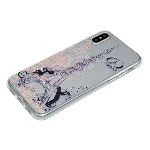 "Coque pour Apple iPhone X , IJIA Transparent Chat Mignon TPU Doux Silicone Bumper Case Cover Shell Housse Etui pour Apple iPhone X (5.8"") XX24"