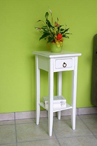 Chic Beistelltisch (Casa Massivholz Pappel Beistelltisch weiß antik Blumentisch Vintag Blumenhocker Shabby-Chic 70cm)