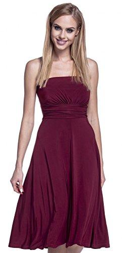 Glamour Empire. Femme Robe Tube Bandeau Soyeux Sans Bretelles Jupe Évasée. 129 Cramoisi