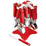 TDO Stainless Steel Trendy Cutlery Set Of 24 Pcs Red