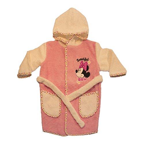 Preisvergleich Produktbild Baby- und Kinder-BADEMANTEL Mädchen mit Minnie Mouse Motiv, Kapuzen-BADETUCH mit Gürtel, Baby-Handtuch mit Taschen in Grösse 86-92, 98-104, 110-116 aus BAUMWOLLE, SUPER WEICH Color Rosa, Size 86-92