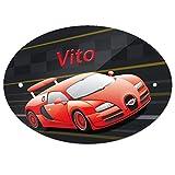 Eurofoto Türschild mit Namen Vito und Racing-Motiv mit Auto für Jungen | Kinderzimmer-Schild