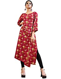 Rose Petals Fully Stitched Indo Western Reyon Check Kurti in Different Designer Cuts and Style with unique neck detailing (CHEp5009), check dress for women western, checks kurtis for women latest