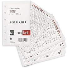 bsb Kalendereinlage Timereinlage für Zeitplaner Pocket A7 2019 1 Woche auf 2 Seiten 8 x 12,7 cm