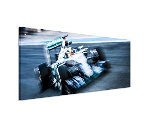 Modernes Bild 150x50cm Künstlerische Fotografie – Leinwandbild Formel 1 Rennwagen F1 auf der Rennstrecke