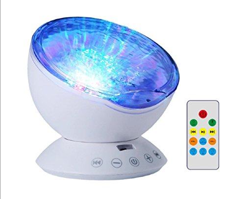 (LED Projektion Licht, Fernbedienung Ocean Wave Projektor Nacht Lampe mit Musik Player für Baby Kinder Kinderzimmer Erwachsene Kinder Party Weihnachten Geschenk)