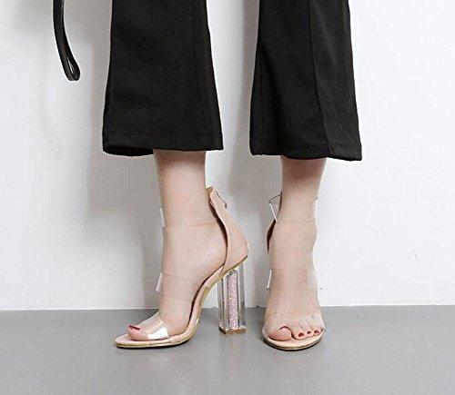 GLTER Donne Cinturino Di Pompe Sandali Aperti Cool Di Alta Heels Estate Ruvida Cristallo T-Strap Sandals Nero Albicocca 34-40 EU apricot
