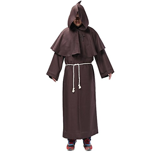 MagiDeal Mönch Kostüm braun für Herren | 2-teiliges Priester Kostüm Robe | Mittelalter Faschingskostüm für Männer | Mönchkostüm für Karneval - XL