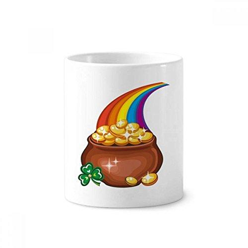 DIYthinker Glanz Klee Regenbogen Irland St.Patrick Tages Keramik Zahnbürste Stifthalter Tasse Weiß Cup 350ml Geschenk 9.6cm x 8.2cm hoch Durchmesser -