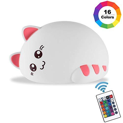 Kindernachtlicht Kitty Cat Silikonlampe mit Wasserhahnsteuerung und wiederaufladbaren tragbaren, dimmbaren 16 Farben zum Wechseln, Geschenk für Jungen/Mädchen, Kleinkinder -