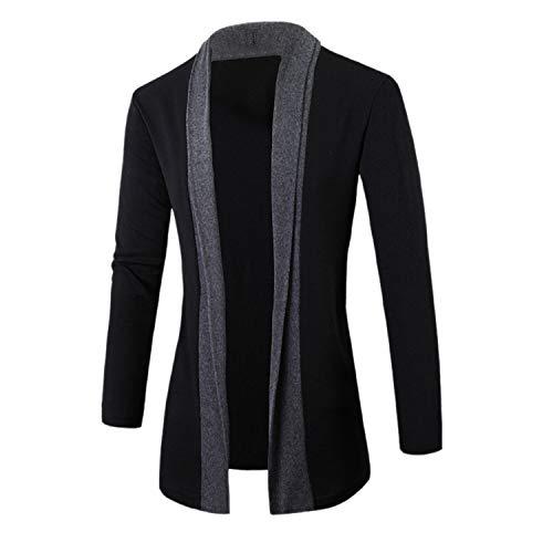 Men's Coats Men Fashion Fake Two Piece Jacket Coat Male Cardigan Jacket Casual Cotton Fashion Man V-Neck Outwear Stylis Dark Grey XXL -