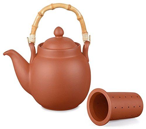 Preisvergleich Produktbild Ton Teekanne Tenno 1,1 liter mit Tonsieb und Bambushenkel. Handgefertigt, Original Aricola®