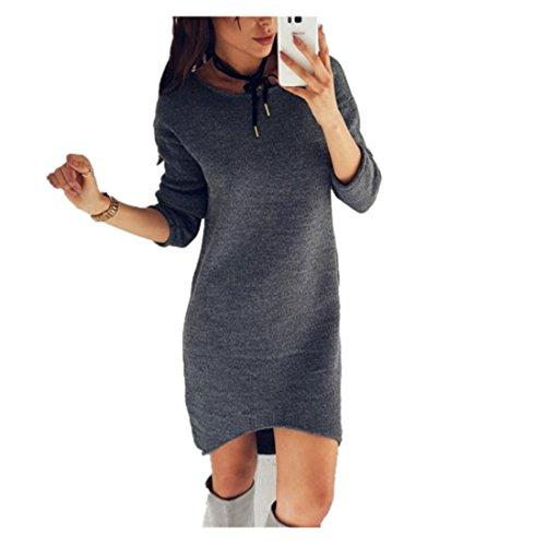 FORH Damen Casual Langarm Pullover Kleid Rundhals Strickkleid Vintage Einfarbig Knit-Sweater Knielang Kleid Reizvolle Bodycon Jerseykleid Loose Jumper Pullover Kleid (L, Grau) (Sweater-stoff Kabel-knit)
