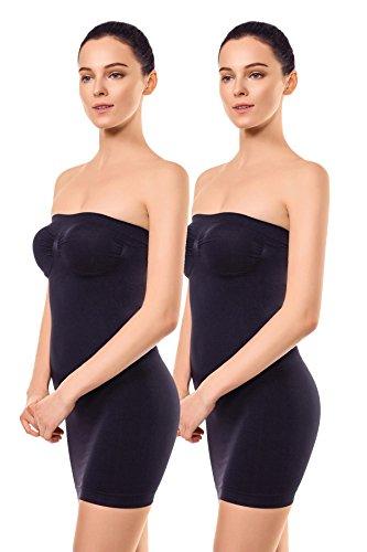 +MD Donna Senza Spalline Completo Modellante Senza Cucitura Liscio Tubino sotto Vestitini Black2XL