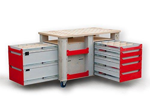 RAL3020/RAL7035 Hochbelastbarer Werkstattwagen 1300x750 mm, Werkbank auf Rollen Werkzeugwagen Rollwagen mit 8 Schubladen