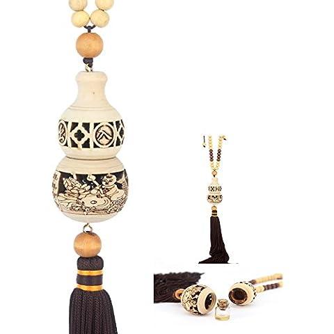 ponerine Tassel portafortuna cinesi nodo decorazione da appendere, per regali con Mala, appendere auto profumo ciondolo bramato, Legno, Natural, calabash