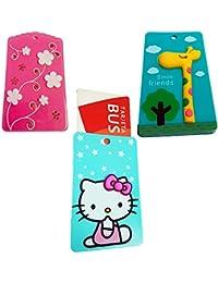 ZARAPOP - Llavero – Tarjeta – Bus – crédito – Club – Pack 3 Unidades. Incluye Flores, Jirafa, Hello Kitty.