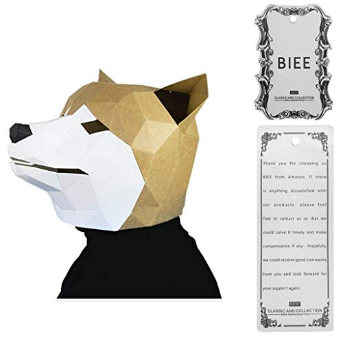 BIEE DIY 3D Papier Maske Tierkopf Formen Halloween Party Kostüm Cosplay Gesichts Papier-Craft Kit