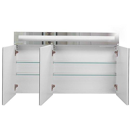 Badspiegelschrank beleuchtet BF01W120, 3-türig, 120x65x15cm, Weiss, inkl. Leuchtmittel - 4