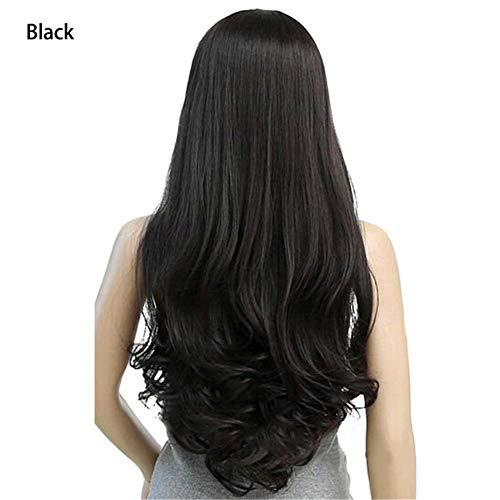 Presentimer parrucca lunga dei capelli ricci lunghi naturali neri resistenti al calore naturale morbidi nero