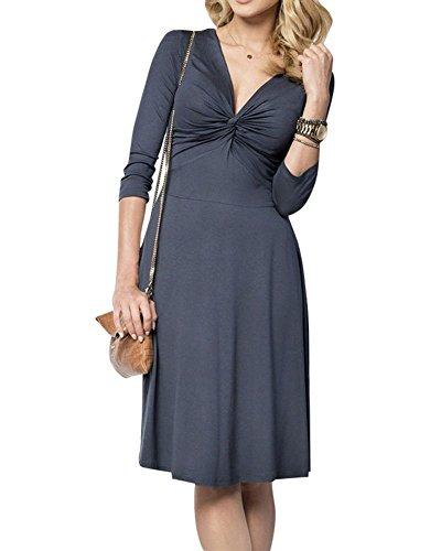 Moollyfox Donna Abito Estivo Vestito a Matita Jersey 3/4 Manica Profondo Scollo A V Blu scuro