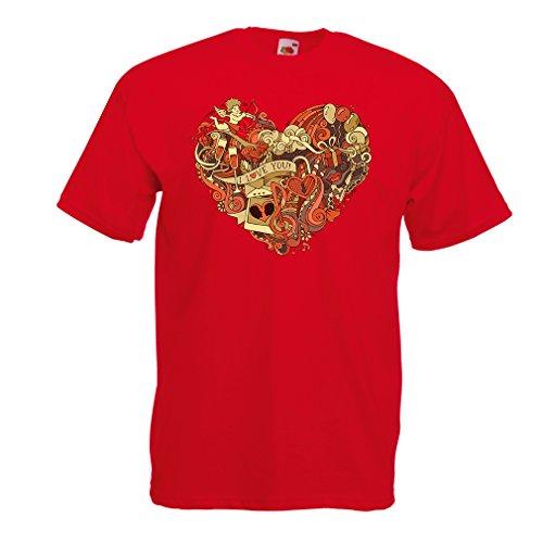 """Lepni.me t-shirt da uomo """"arco e la freccia di cupido - ti amo"""" giorno di san valentino idee regalo (medium rosso multicolore)"""