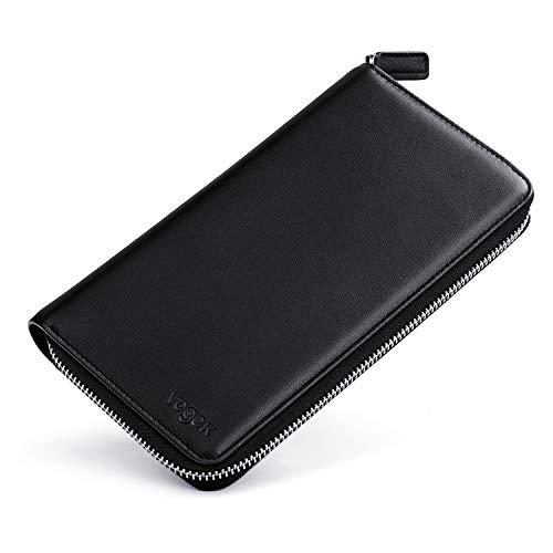 Geldbörse Leder Groß, Vogek Geldbeutel RFID Schutz Viele Fächer Portemonnaie Brieftasche mit Münztasche Kartentasche Schutz Kreditkartenetui für Damen und Herren -