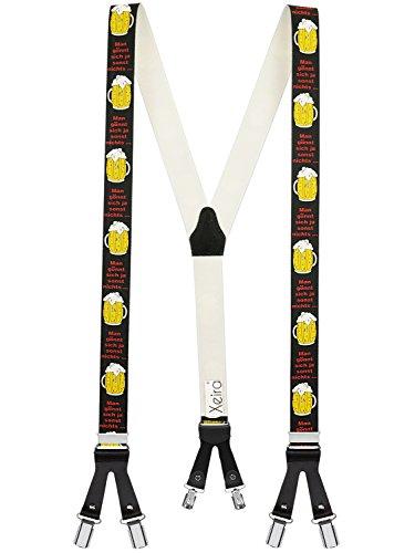 Xeira  Hochwertige Hosenträger Trendigen Edelweiß/Handwerker/Bier/Army Design mit Lederriemen und 6 Clips - Made in Germany (Bier)