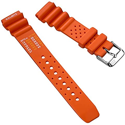 ZULUDIVER® ND Limits Dive Watch Strap, PVC Rubber, Polished Buckle, Orange, 22mm