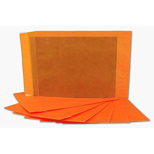 75 DIN C5 Briefumschläge transparent in Hell-Orange Farbig | Format 162 x 229 mm | Premium 100 g/qm | Transparent-Hüllen mit Abziehstreifen | bunte Umschläge für Einladungen & Hochzeiten (Karten Spielen Helle)