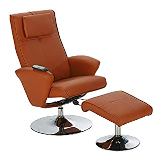 aktivshop Relaxsessel Fernsehsessel mit Hocker & Massagefunktion, Drehbar (Hellbraun)